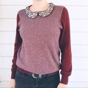 J. Crew Factory Herringbone Jewel Collar Sweater